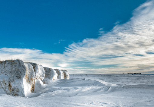 PHOTONews Winter 2010 Challenge Snow Covered Hay Bales Grassy Lake Alberta Patrick Kavanagh