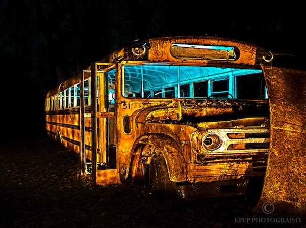Kevin Pepper - Light Painting - Light Painted Yellow Bus