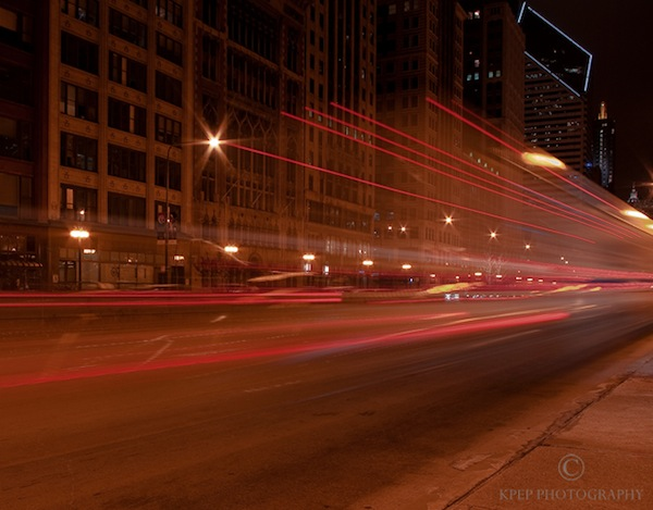 Kevin Pepper - Light Painting - Michigan Avenue Chicago Bus