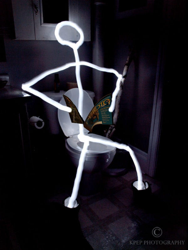 Kevin Pepper - Light Painting - Stick Man Reading Material