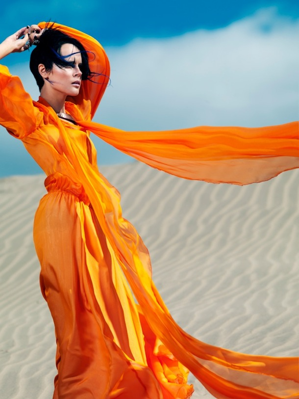 David Hou - Playing in the Sand - Orange Dress in the Wind